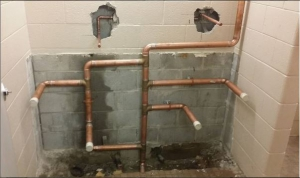 Exposed pipes in a commercial building